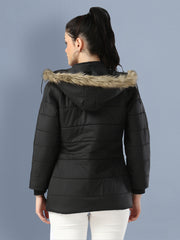 Black Full Sleeve Nylon Fur Hoodie Women Winter Jacket-2485