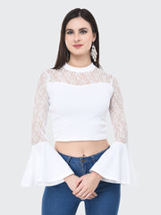 White Flared Fashion Sleeve Carrera Lace Top-2058