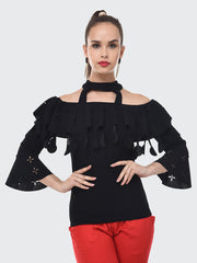 Black Imported Crepe Off-Shoulder Top-2090