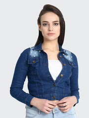 Dark Blue Embellished Pearl Denim Jacket-2177