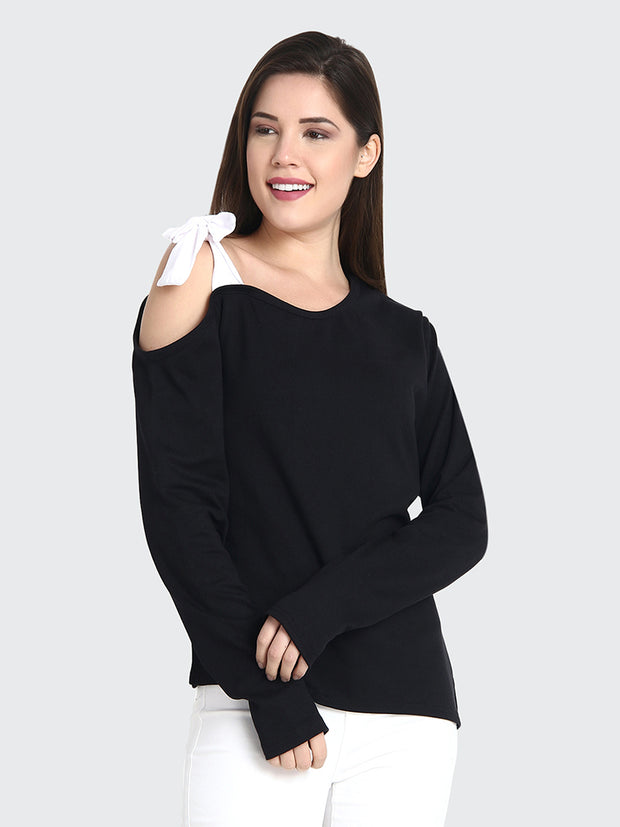 Black Cotton Long Sleeve Solid Shoulder Cut Top-2189