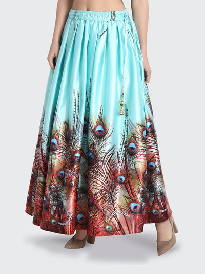 Sky Blue Printed Long Maxi Silk Skirt-2192