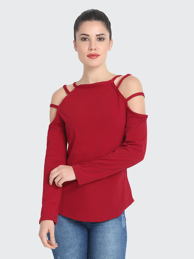 Maroon Cotton Blend Cold Shoulder Cut Top-2208