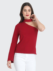 Maroon Cotton Blend One shoulder Top-2217