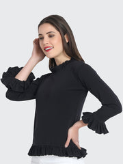 Black Cotton Blend Ruffled Top-2223