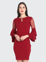 Maroon Cotton Blend Frill Bodycon Dress-2231