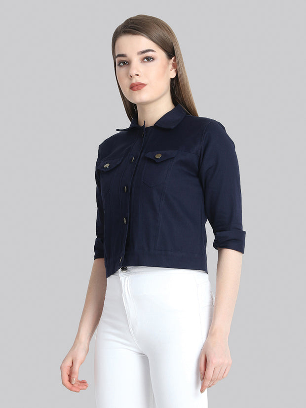 Navy Solid Buttoned Twil Jacket-2270