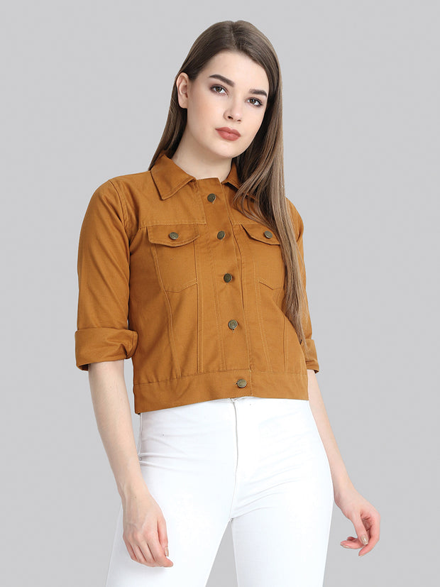 Brown Solid Buttoned Twil Jacket-2274
