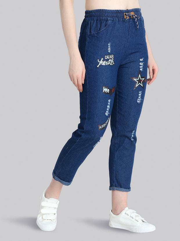 Dark Blue Star Print Denim Jogger Jeans-2275