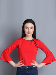 Red Imported Cotton Blend Crop Top-2284