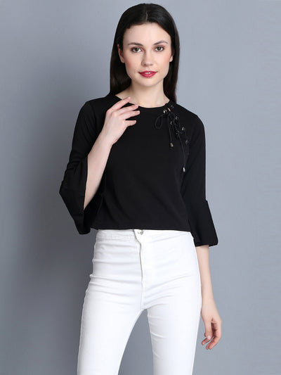 Black Imported Cotton Blend Crop Top-2285