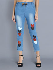 Light Blue Heart Print Skinny Fit Denim Jogger Jeans-2359
