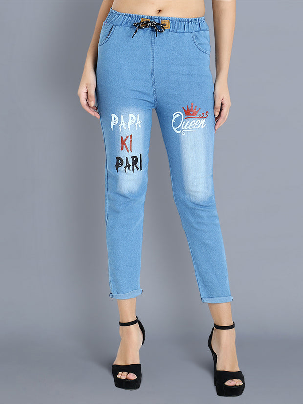 Light Blue Papa Ki Pari Skinny Fit Denim Jogger Jeans-2360