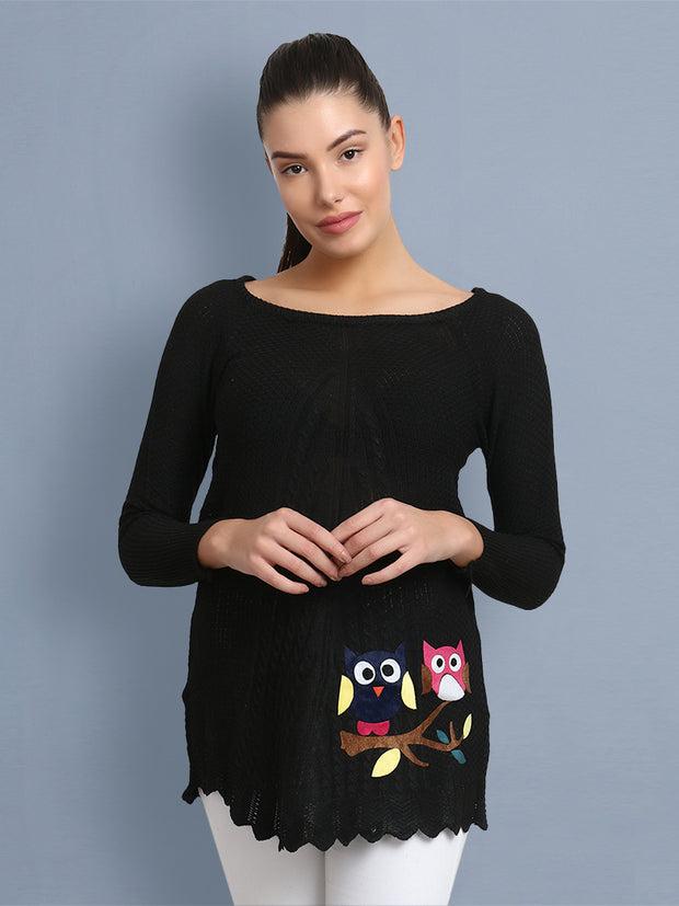 Black Owl Print Women's Wool Sweater-2361