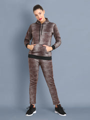 Wollen Blend All-Over Splatter Print Womens Full Tracksuit with Hoodie-2394