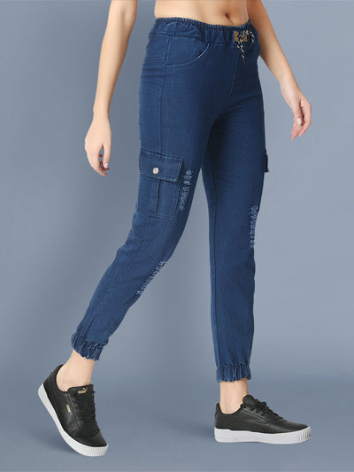 Denim Dark Blue Side Pocket Ripped Jogger Jeans-2469