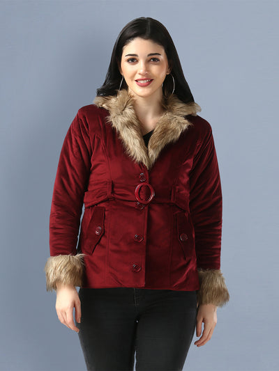 Maroon Imported Velvet Fur Collar Women Winter Jacket-2482
