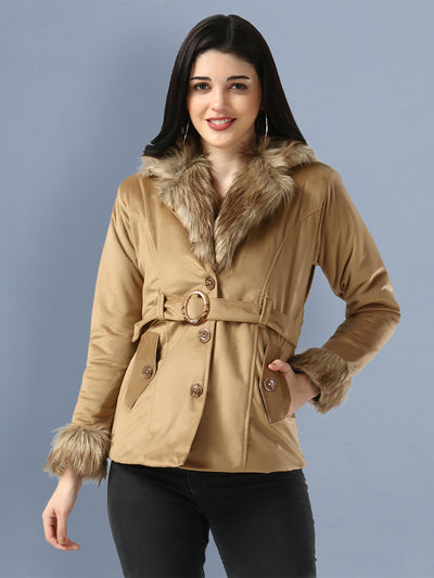 Beige Imported Velvet Fur Collar Women Winter Jacket-2483