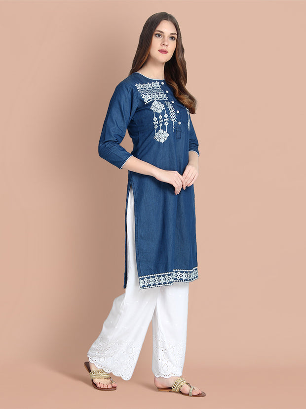 Denim Dark Blue Embroidered Long Kurti-2454