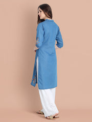 Denim Light Blue Embroidered Long Kurti-2458