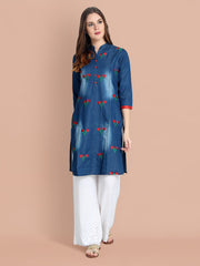 Denim Dark Blue Embroidered Long Kurti-2455