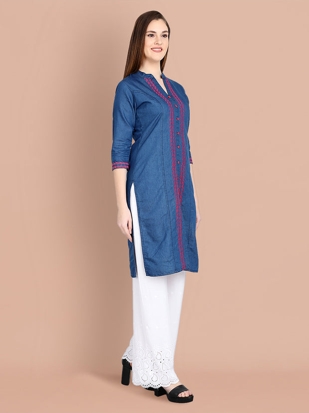 Denim Dark Blue Embroidered Long Kurti-2457