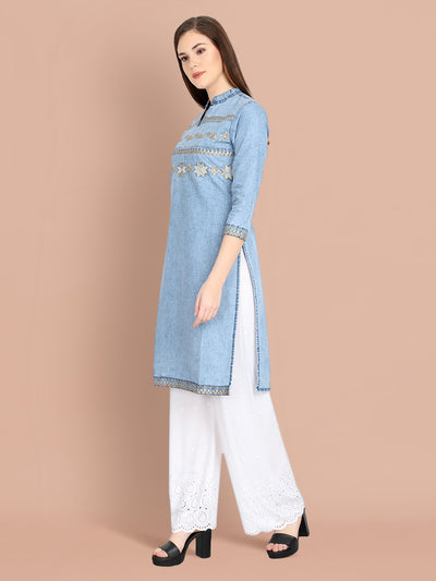 Denim Light Blue Embroidered Long Kurti-2459