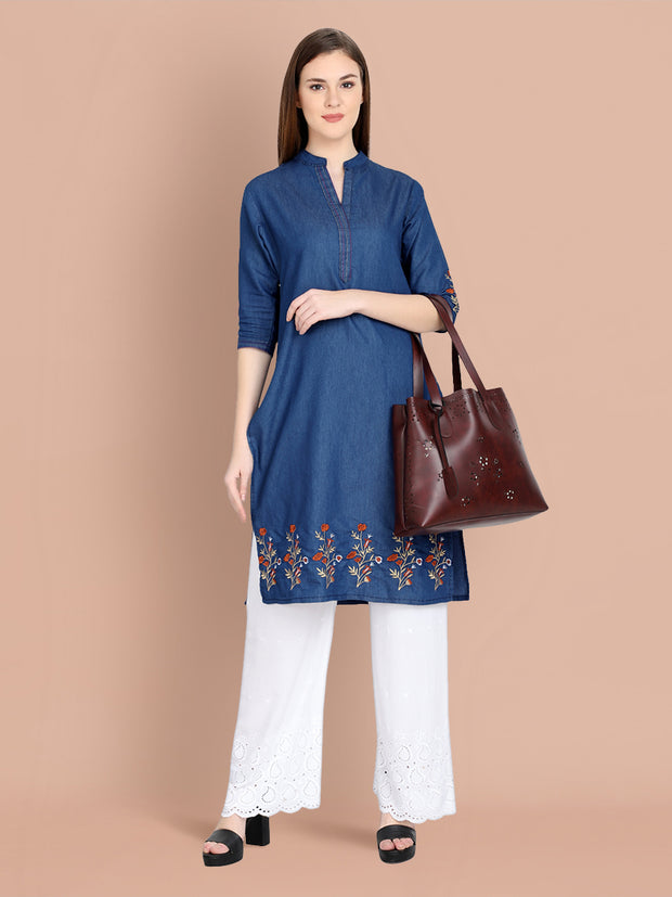 Denim Dark Blue Embroidered Long Kurti-2456