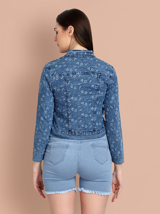 Mid Blue Printed Casual Denim Jacket-2465