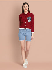 Maroon Twil Denim Mickey Mouse Print Crop Shirt-2463