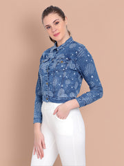 Mid Blue Printed Casual Denim Jacket-2466
