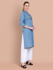 Denim Light Blue Embroidered Long Kurti-2467