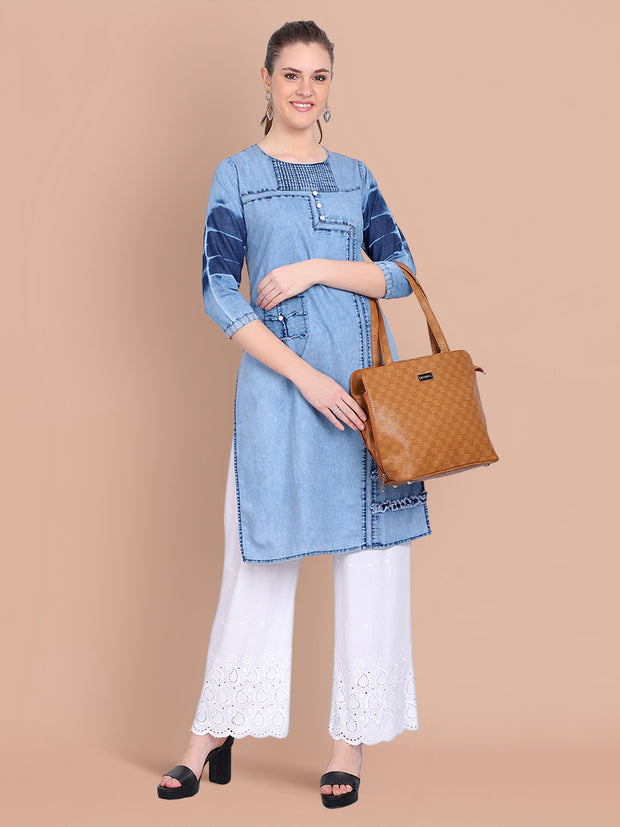 Denim Light Blue Embellished Long Kurti-2468