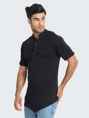 Black Cotton Solid Plain Men T-Shirt-2257