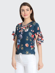 Blue Rayon Floral Printed Top-2241