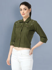 Green Pearl Embellished Twil Denim Jacket For Women-2496
