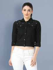 Black Pearl Embellished Twil Denim Jacket For Women-2497