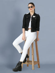 Black Butterfly Twil Denim Jacket For Women-2501