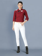 Maroon Butterfly Twil Denim Jacket For Women-2502