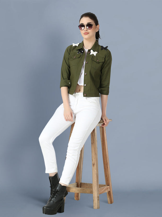 Green Butterfly Twil Denim Jacket For Women-2504