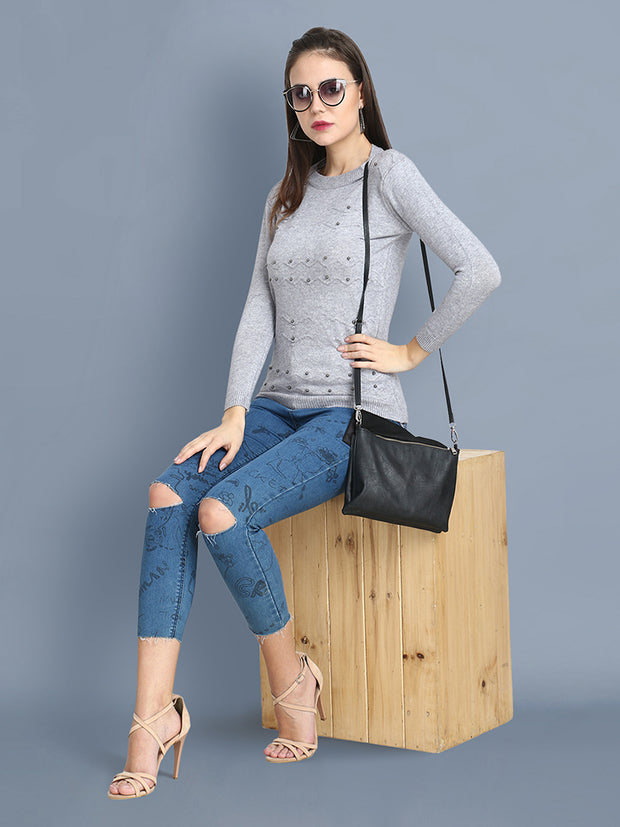 Grey Woolen Pearl Embellished Sweater-2428