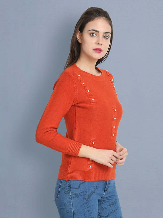 Red Woolen Pearl Embellished Sweater-2431