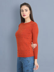 Red Woolen Pearl Embellished Sweater-2435