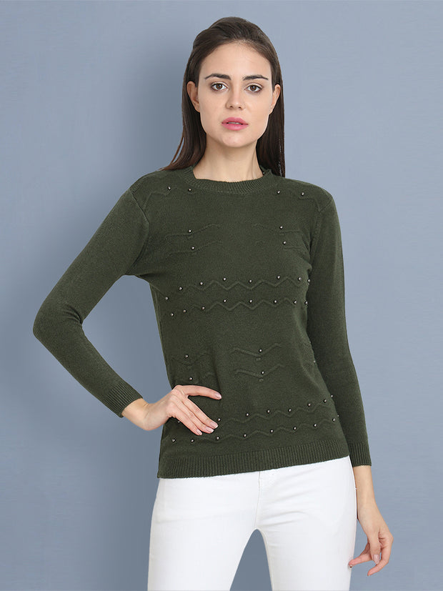 Green Woolen Pearl Embellished Sweater-2433