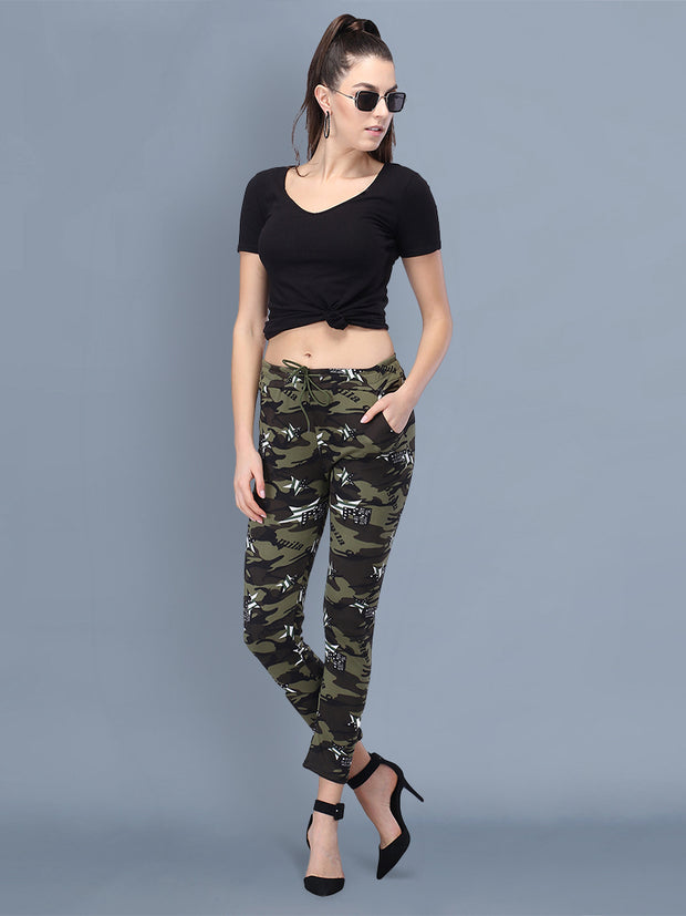 Multicolor Camouflage Print Women Track Pant-2513