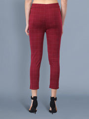 Maroon Cotton Lycra Checkered Women Pant-2519