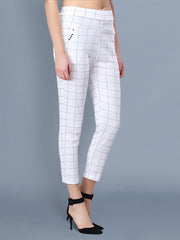 White Cotton Lycra Checkered Women Pant-2520
