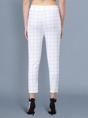 White and Grey Cotton Lycra Checkered Women Pant-Pack of 2-25202524
