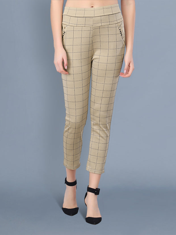 beige checkered  track pant for formal use