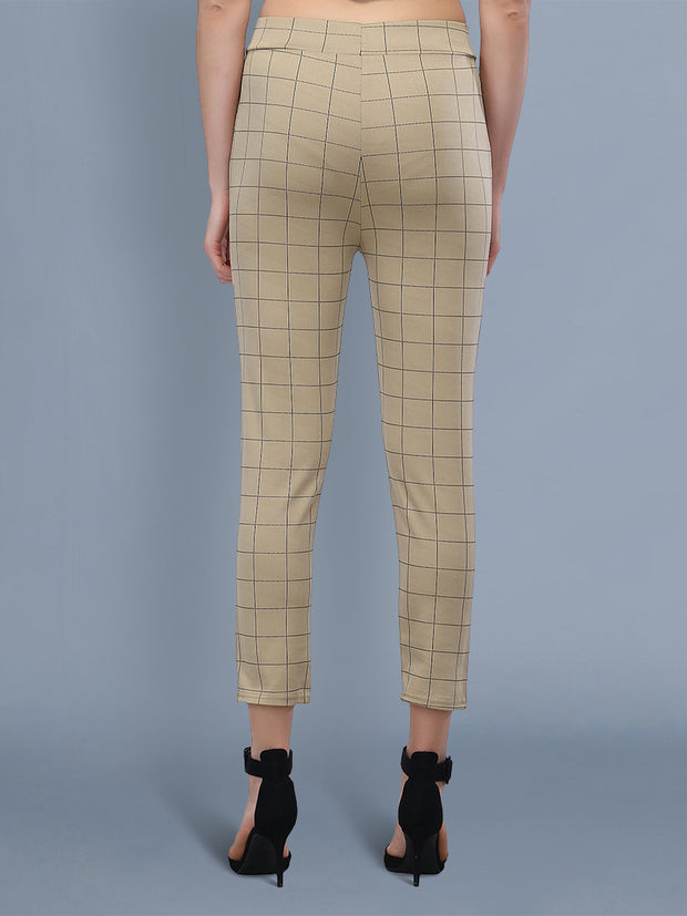 beige checkered track pant for  women's and girls